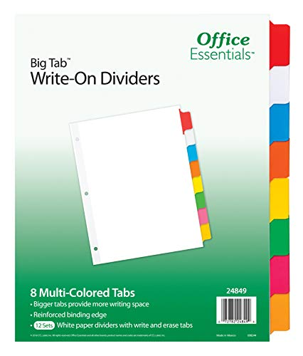Office Essentials Big Tab Write-On Dividers, 8-1/2 x 11, 8 Tab, Multicolor Tab, 12 Pack (24849)