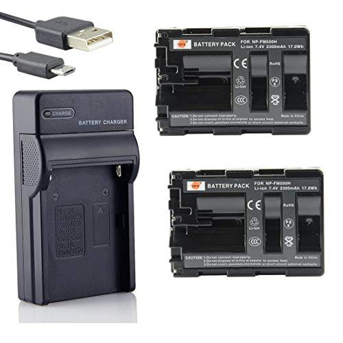 DSTE NP-FM500H Li-Ion Batería (2 Paquetes) Traje y Cargador Micro USB Compatible...