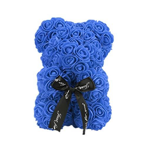 Rose Bär niedlich Liebe Blume Bär künstlich für Immer Graduation Geschenk Jubiläum Geburtstag Valentines Geschenk (Royal Blue)