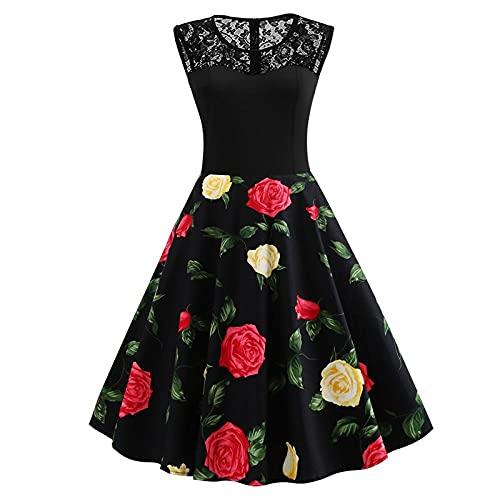Spódnice Damskie Peony Flower Plus Size Sukienka Kobiety Koronkowe Letnie Sukienki Damskie Retro-As_Shown_2_Xxl
