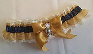 Handcrafted Navy Blue Satin and White Lace Wedding Garter Single or 2 pc Set Made Using NY Yankees New York Fabric