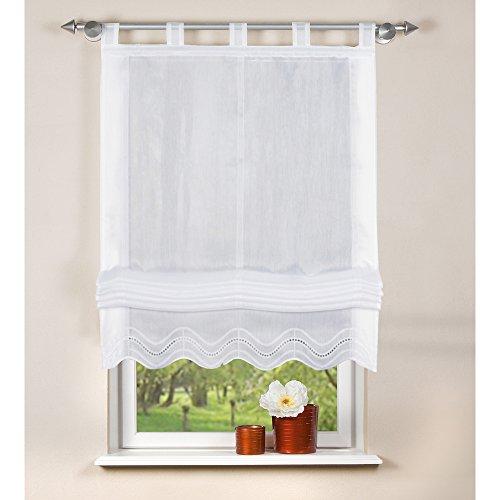 Home Fashion 79252-801 Rideau Store Bateau avec Boucles Blanc 140 x 80 cm