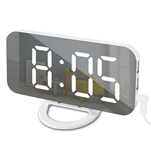 GLOUE Alarm Clock with USB Charger, Digital Alarm Clocks for Bedrooms, Large Mirror Surface, Easy Snooze Function, Dimming Mode Auto/Manual Adjustable Brightness Bedside Alarm Clocks (White/White)