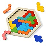 Wooden Puzzles for Kids Adults - Kids Puzzles Hexagon Shape Pattern Block for Kids Brain Teaser Puzzle Toy...