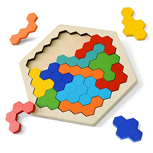 Wooden Puzzles for Kids Adults  Hexagon Tetris Kids Puzzles Shape Pattern Block for Kids Brain Teaser Puzzle Toy Logic IQ Game STEM Montessori Puzzle Educational Toy Gift for All Ages Challenge