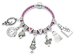 Children's 'Alice In Wonderland' Pink Leather Charm Bracelet with Gift Box Bracelet available in 3 sizes from 16cm - 18cm To get the right bracelet size, measure around the child's wrist and add 2-3 cm. Select the size from the drop down menu above L...