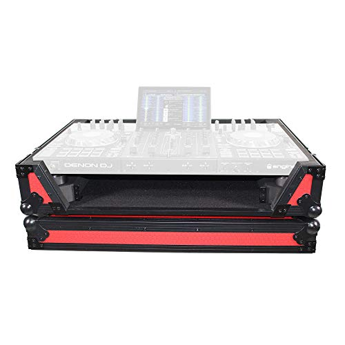 ProX Flight Case Compatible with Denon Prime 4 Standalone DJ System with Wheels - Black on Red Design - XS-PRIME4 WRB