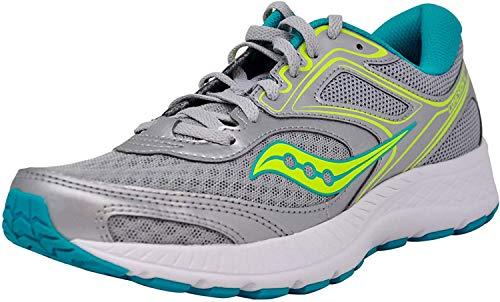 Saucony Women's VERSAFOAM Cohesion 12 Road Running Shoe, Silver/Mint/Citron 10 M US