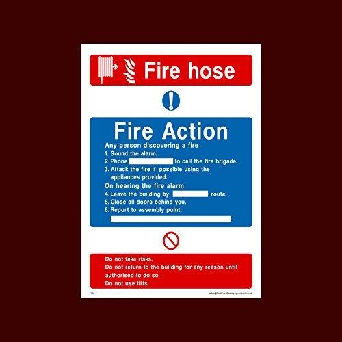 Fire Action Brandslangbord Stickers Zelfklevend Vinyl (Fa5) - Vuur, Montagepunt, Break Glas, Lift, Alarm, Brandblusser