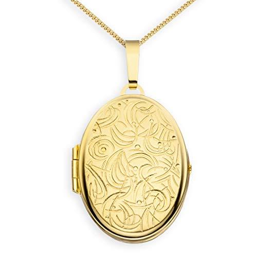 Medaillon mit Kette teilmattiert Ornament verziert oval 333 Gelbgold 8 Karat Gold zum öffnen für Bildereinlage 2 Fotos Amulett Verzierung von Haus der Herzen® + Kette mit Schmuck-Etui