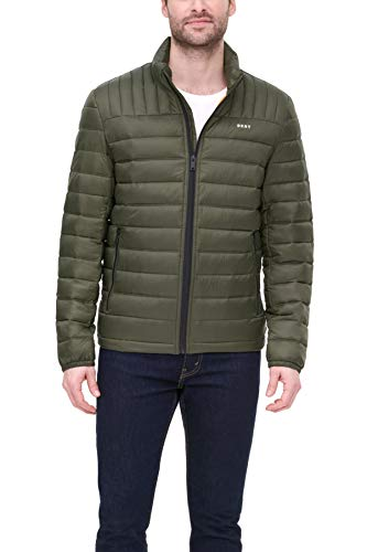 DKNY Herren Water Resistant Ultra Loft Quilted Packable Puffer Jacket Daunenalternative, Mantel, armee-grün, Large
