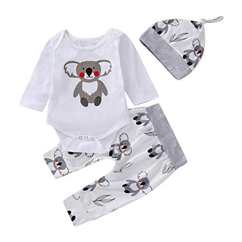 BOBORA Ensemble de Vêtements 3PCs Bébé Filles Garçons Koala Imprime Barboteuse Manches Longues + Pantalon Floral + Chapeau