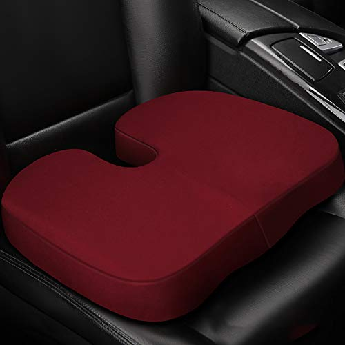 QWY-Cojin Asiento Coche, Asiento Universal Súper Suave Espuma de Memoria Cómodo para Vehículos,Cojín Asiento Oficina (1 Pieza),Rojo