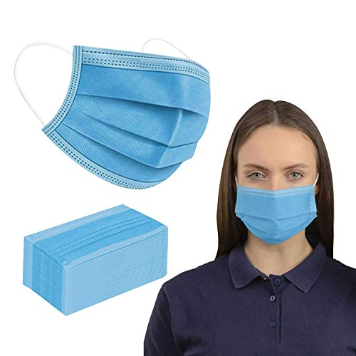 50 Pack Blue Disposable_Face_Masks, 3 Ply Protection Cover Dust Women Men Breathable Cover for Working Mowing Running Cycling Outdoor School (50 PC, Blue)… (50)