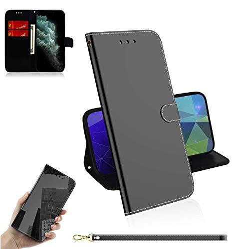Sunrive Kompatibel mit Motorola Moto One Fusion Plus Hülle,Magnetisch Schaltfläche Ledertasche Spiegel Schutzhülle Etui Leder Hülle Cover Handyhülle Tasche Schalen Lederhülle MEHRWEG(Schwarz)