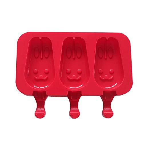 Hacoly - Molde para Helado de Silicona Reutilizable, Molde para Helados para niños y Adultos, Molde para Helados FAI-da-Te de Cocina, Color Rojo, 16,5 x 9,5 cm