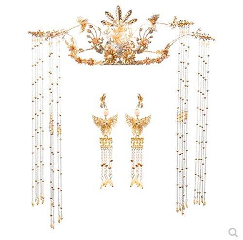 Headdress Chinese Luxe Kwastje Phoenix Kroon Bruiloft Golden Xiuhe Kostuum Haaraccessoires Draak en Phoenix