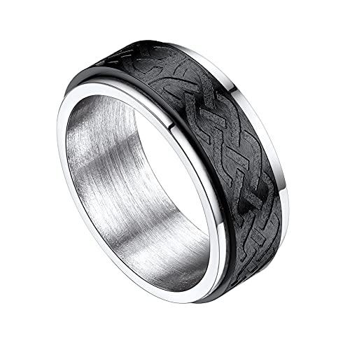 Bestyle Two-Tone Spinner Rings for Women Men Stainless Steel Black Fidget Band Rings Celtic Knot Design Anxiety Rings for Stress