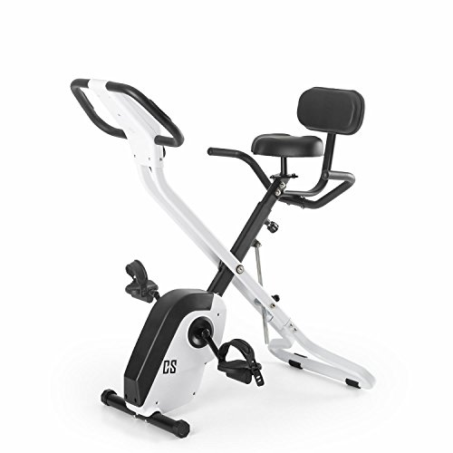 CAPITAL SPORTS Azura X - Bicicleta estática, Entrenamiento de cardio, Pulsómetro, Sistema plegable, Rotor de 4 kg, 7 niveles de altura, Peso máx. 120 kg, Respaldo, Reposabrazos, Blanco