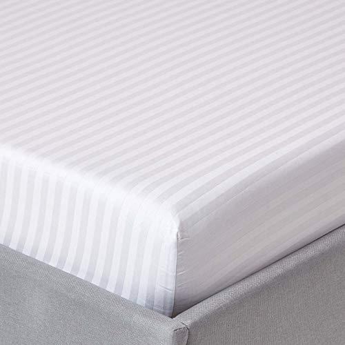 Homescapes Spannbettlaken/Spannbetttuch 180 x 200 cm weiß mit Satin-Streifen – 100% Reine ägyptische Baumwolle Fadendichte 330