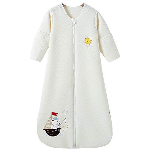 Schlafsack baby Ganzjahres Baumwolle Junge Mädchen mit Innenfutter Neugeborener Schlafanzug. - Boot (110CM/18-36monate, Weiß)