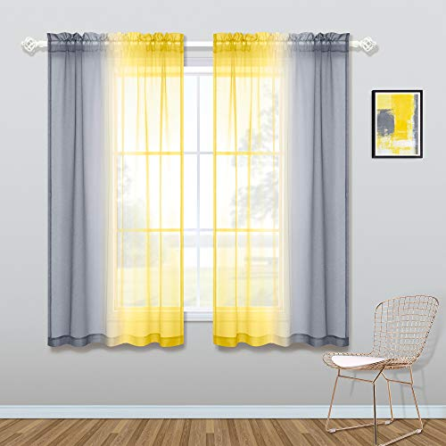 Yellow Curtains 45 Inch Length for Kitchen Windows Set of 2 Panels Rod Pocket Small Sheer Ombre Sunflower Yellow and Grey Colored Short Curtains for Bathroom Decor Bedroom 50x45 Long Gray Kentucky