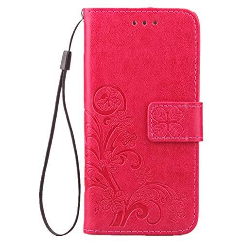Tasche für Apple iPhone SE 2020 iPhone 8 & iPhone 7 Hülle Leder aus Textil Schutz Hülle Four Leaves Clover (Rote)