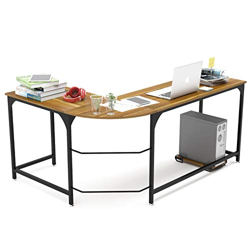 Teraves Reversible L-Shaped Desk Corner Gaming Computer Desk Office Workstation Modern Home Study Writing Wooden Table (Small, BOAK)