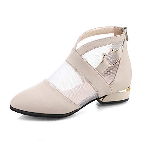 TWISFER Damen Tüll Patckwork Elegant Kurz Stiefel Herbst Stiefeletten Frauen Mode PU Leder Flache Schuhe Schnalle Ankle Boots Booties