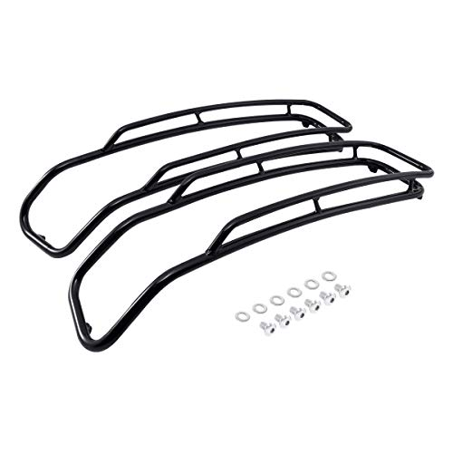 SLMOTO Black Iron Saddlebags Lid Top Rail Guards Fit for Harley Touring Road King Electra Glide 2014-2020 2019 2018 2017 2016 2015