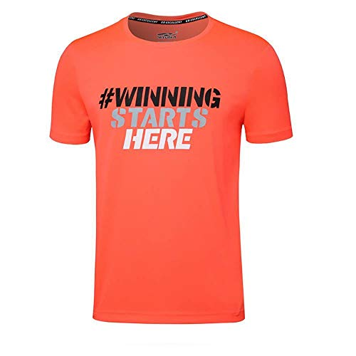 CUIZC T-shirt à col rond à manches courtes pour homme Coupe ample et séchage rapide Taille M L XL 2XL 3XL 4XL - Orange - XL