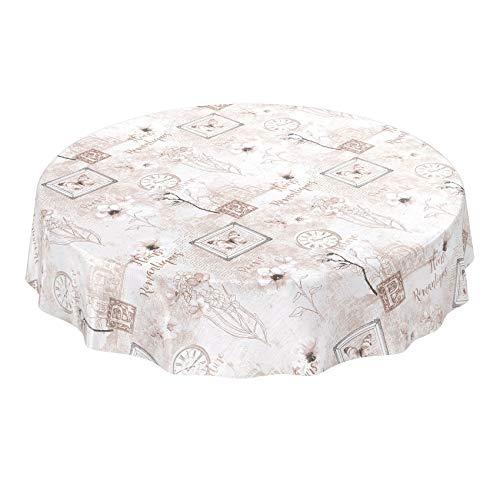 ANRO Tischdecke Wachstuch abwaschbar Wachstuchtischdecke Wachstischdecke Romantik Beige Rund 100cm