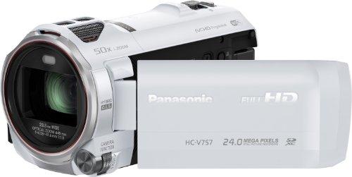 Panasonic HC-V757EG-W Camcorder (17,5 Megapixel, 21-fach opt. Zoom, 7,6 cm (3 Zoll) LCD-Display, Full-HD, HDMI, SD/SDHC/SDXC-Kartenslot) weiß
