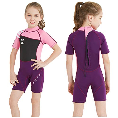 DIVE & SAIL Kids Wetsuit Shorty, 2.5mm Neoprene Thermal Swimsuit, Youth Boys and Girls Wet Suits for Snorkel Diving, Full Suit and Shorty Swimsuit