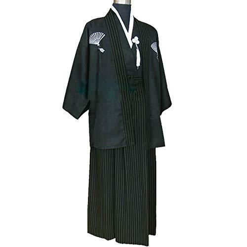 Kimono Japonés para Hombre: Traje de Samurái Japonés, Ropa Formal Japonesa,Black-Large