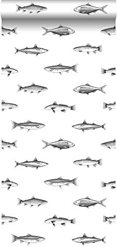 papel pintado dibujo a la pluma de peces blanco y negro - 138967 - de ESTAhome