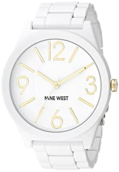 Nine West Women s NW/1678WTWT Analog Display Japanese Quartz White Watch White/Gold