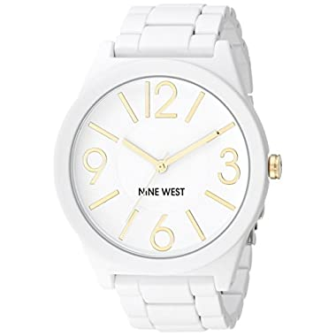 Nine West Women's NW/1678WTWT Analog Display Japanese Quartz White Watch, White/Gold