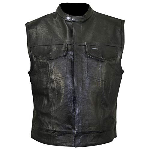 Xelement XS1937 Men's 'Quick Draw' Black Leather Motorcycle Vest - 4X-Large