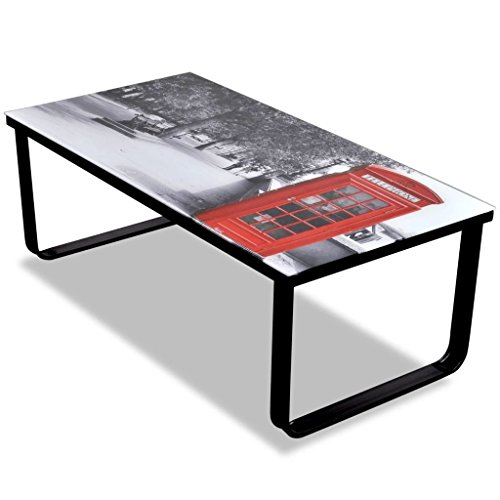 vidaXL Wohnzimmertisch Beistelltisch Couchtisch Tisch Telefonzelle Glasplatte