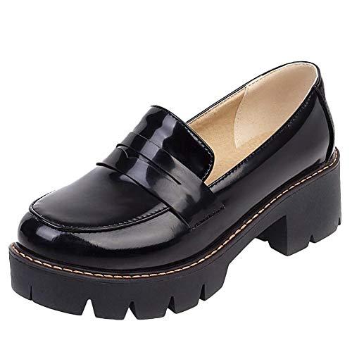 OUWANG Damen Plateau Blockabsatz runde Geschlossen Loafers(37 EU,Schwarz)