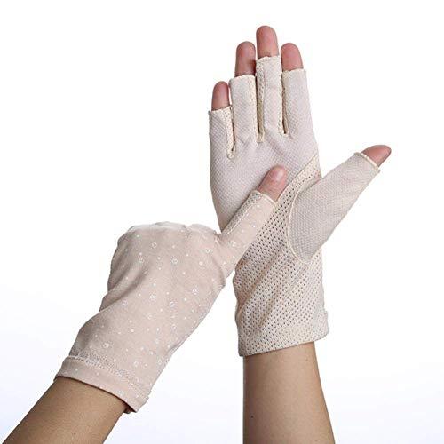 ZHTY Sonnencreme Handschuh Halbfingerhandschuhe Damen Sommer Elastische Fingerlose Fahrhandschuhe EIS Seide Halbfinger rutschfeste Sonnencreme Handschuhe Song (Color : Beige, Size : A)