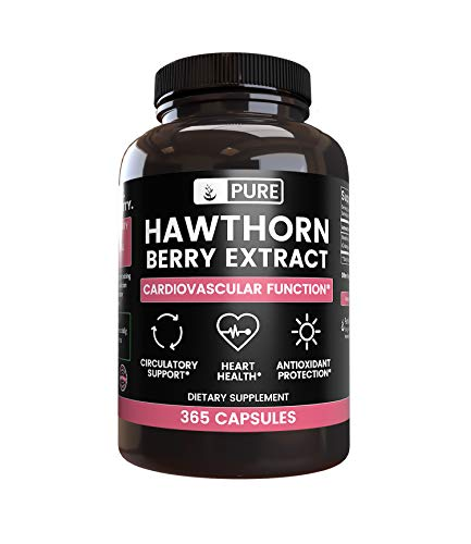 Natural Hawthorn Berry Extract, 365 Capsules, 4 Month Supply, No Magnesium or Rice Fillers, Non-GMO, Made in USA, 1275 mg of Undiluted & Potent Hawthorn Berry Extract with No Additives