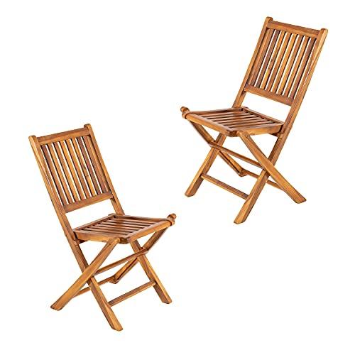 Pack 2 sillas jardín Teca Plegables, Madera Teca Grado A, Tamaño: 48x60x85 cm, Tratamiento al Agua aplicado