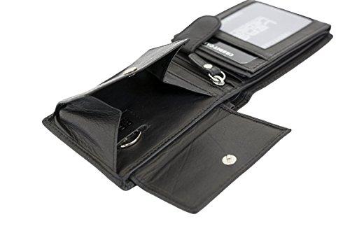 LEAS Minibörse mit Riegel flach im Querformat dünn, flaches Portemonnaie mit RFID Schutz, Block Folie mit Geschenk Box Echt-Leder, schwarz