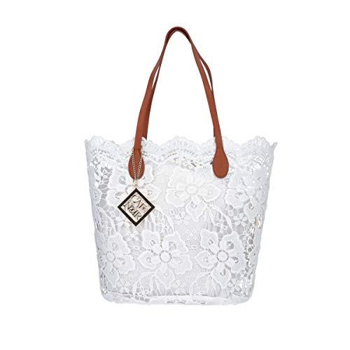 CAFéNOIR DV0001 Bolso shopping mujer de encaje blanco