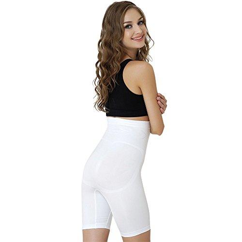 Formeasy Damen Shapewear Miederhose bauch weg stark formend Miederpants mit Bein Taillenformer Shaper angenehme figurformende Wäsche, Weiß, XXX-Large