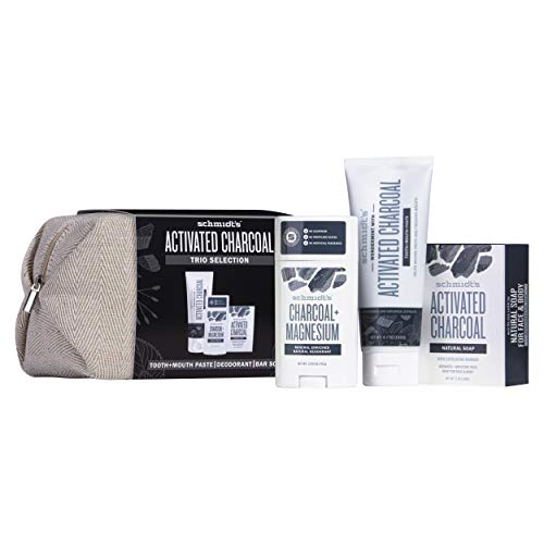 Schmidt's Geschenkset Charcoal (Kulturtasche mit Seifenstück, Zahnpasta und Deodorant), 1er Pack