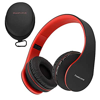 PowerLocus Wireless Bluetooth Over-Ear Stereo Foldable Headphones, Wired Headsets Noise Cancelling with Built-in Microphone for iPhone, Samsung, LG, iPad (Black/Red) from Powerlocus