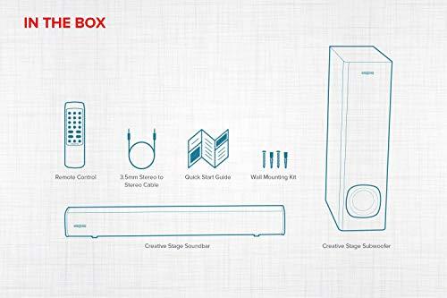 Creative Stage 2.1 - Barra de sonido con subwoofer para TV, ordenador y pantalla ultraancha, entrada óptica, entrada de TV ARC/AUX, mando a distancia y kit de montaje en pared